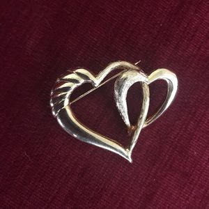 Vintage New View Double Heart Brooch